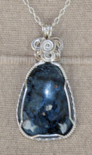 Blue Pietersite Set in Sterling Silver and Argentium Silver Wire
